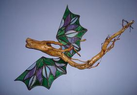dragon sculpture, stained glass dragon, emerald dragon, dragon sculpture,