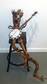 tree sprite sculpture, banjo, stained glass banjo,