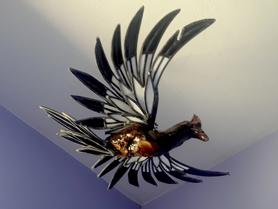 pheonix fire sculpture,bird sculpture, woodpecker, woodpecker sculpture,, unique, snail sculpture, stained glass, antique stained glass,