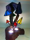 stained glass lamp, mushroom lamp, stained glass,